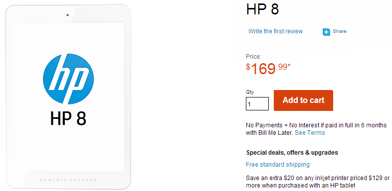 HP 8 Android Tablet Price