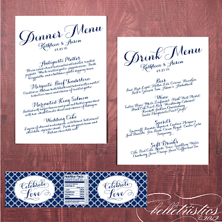 printable diagonal script wedding menu card water label design quatrefoil pattern
