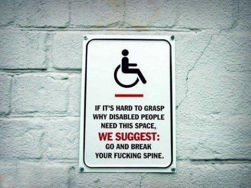 funny handicap sign