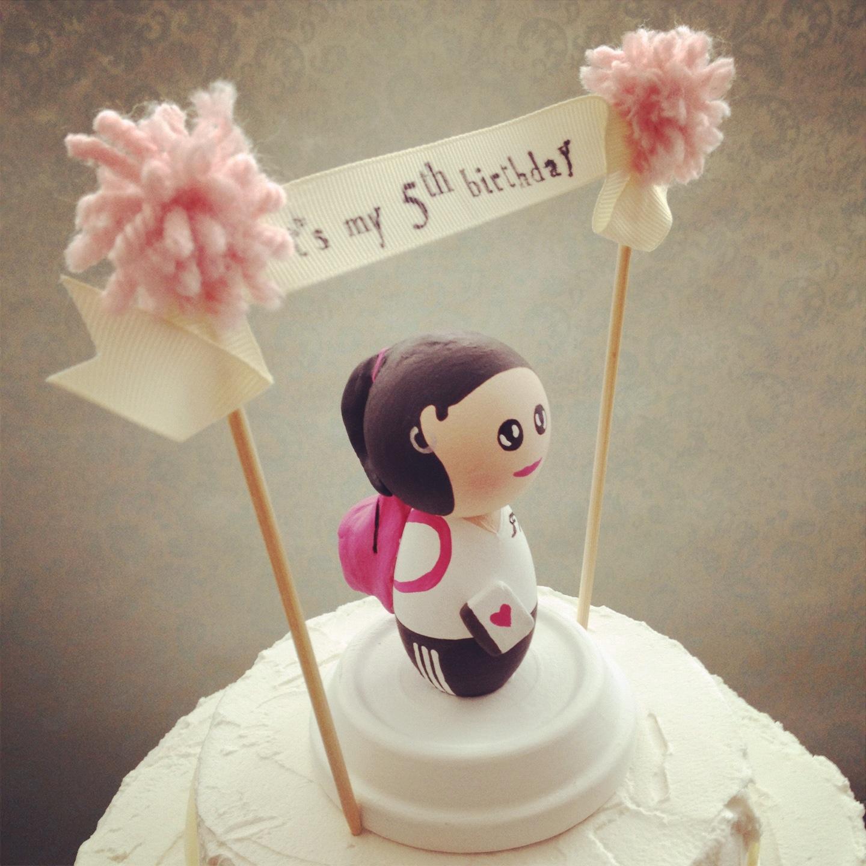 DSMeeBee: Custom Kids Birthday Cake Topper With Pompom Banner