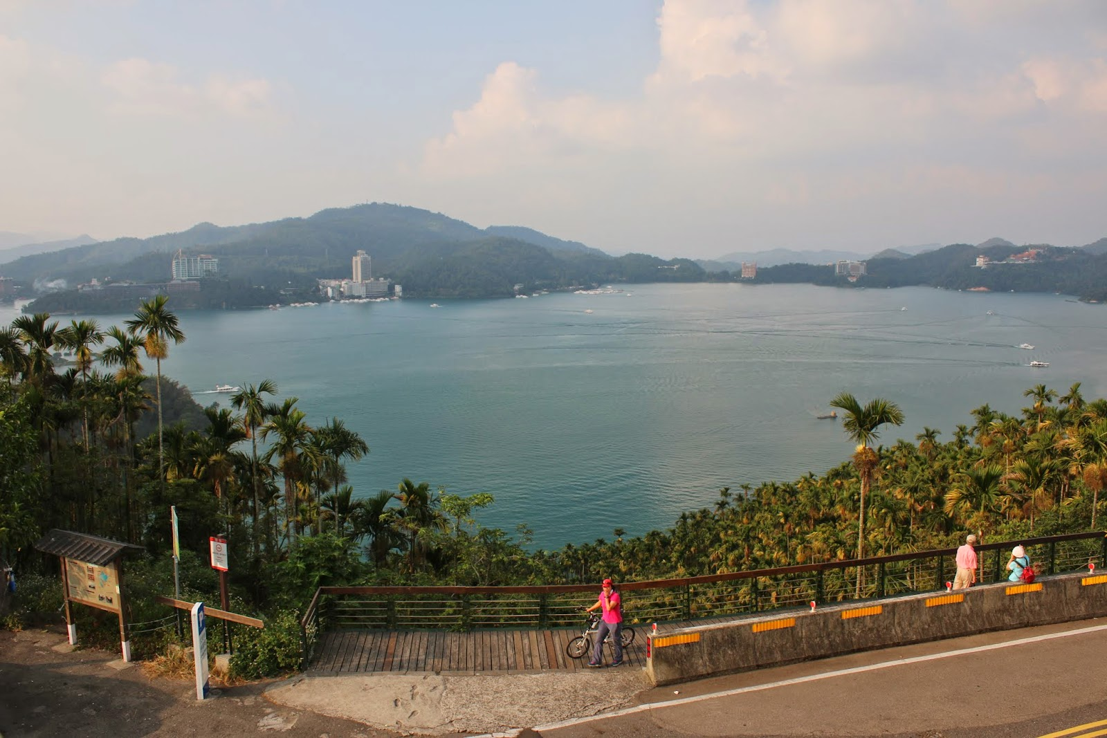 Beautiful scenic lake view of Sun Moon Lake from the entrance of Xuanzang Temple in Nantou County of Taiwan