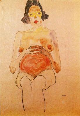 Nu vermell, dona embarassada (Egon Schiele)