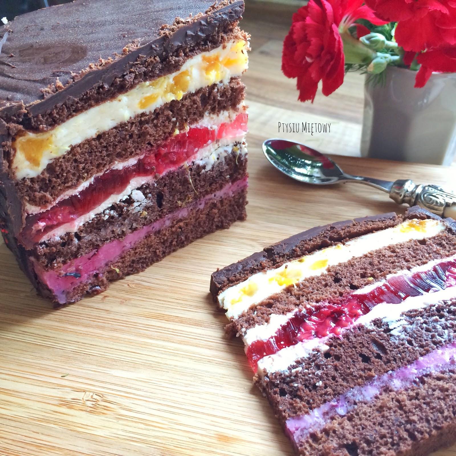 urodzinowy tort kakaowy, ptysiu mietowy