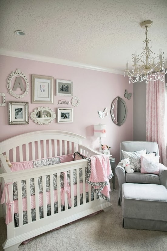 All pink nursery : Girls pink and gray baby nursery