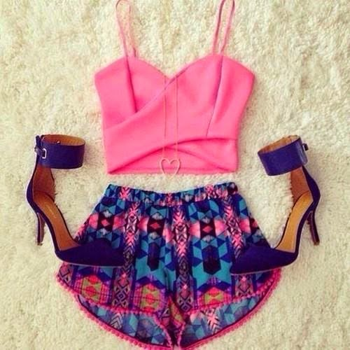 Pink Top, Short, Ankle Strap | Outfit