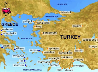 Map of Greece and Turkey tourist attractions