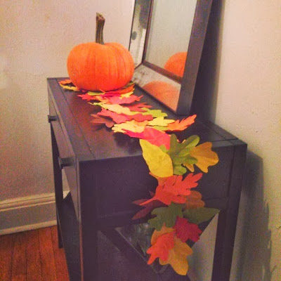 DIY leaf table runner