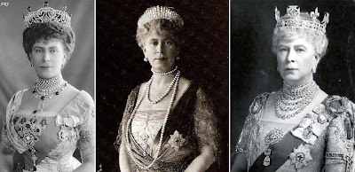 Queen Mary wearing Cullinan V Brooch in the Delhi Durbar Stomacher (left), with Cullinan VIII Brooch (middle), and in her Coronet (right)