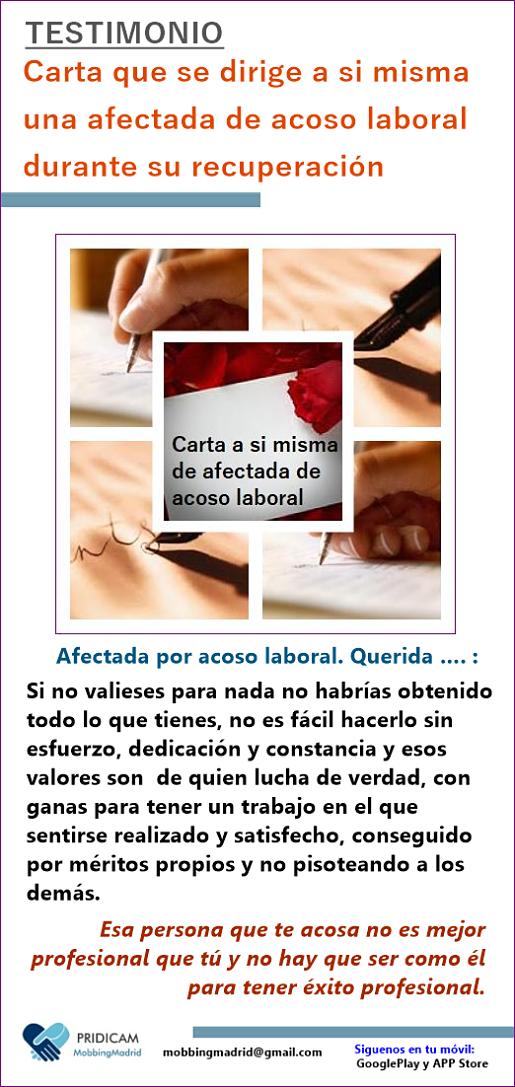 MobbingMadrid Carta que se dirige a si misma una afectada de acoso laboral durante su recuperación