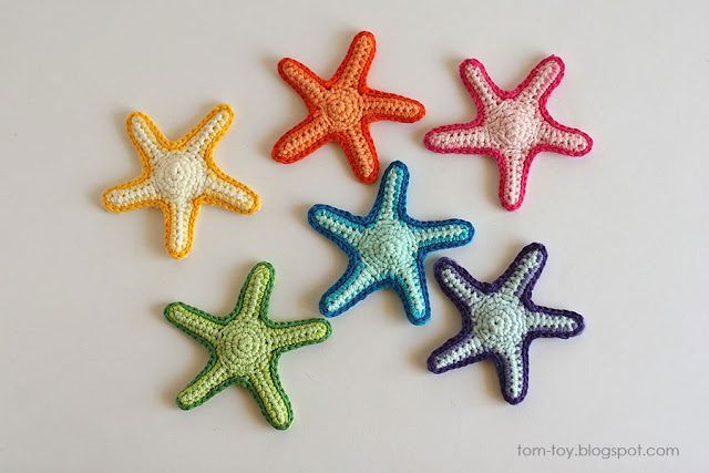 Handmade crochet applique starfish 3D crochet
