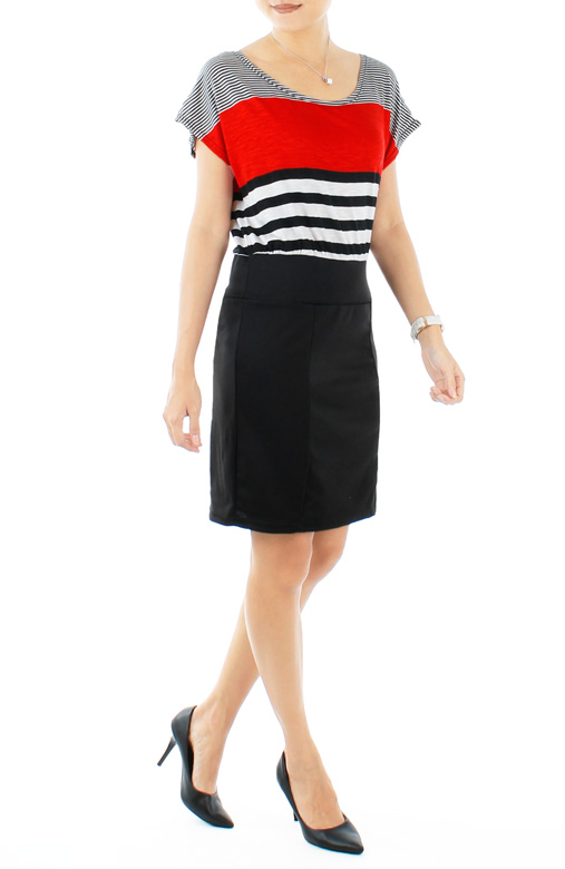 Red Irregular Stripe Dress with Black Skirt