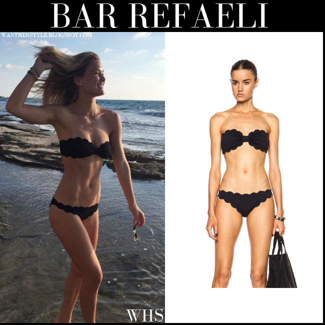 Bar Refaeli in black scalloped bikini from Marysia Swim july 10 what she wore beach style