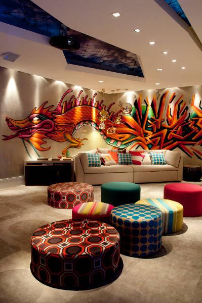 SALA CON GRAFFITI via www.salasycomedores.blogspot.com
