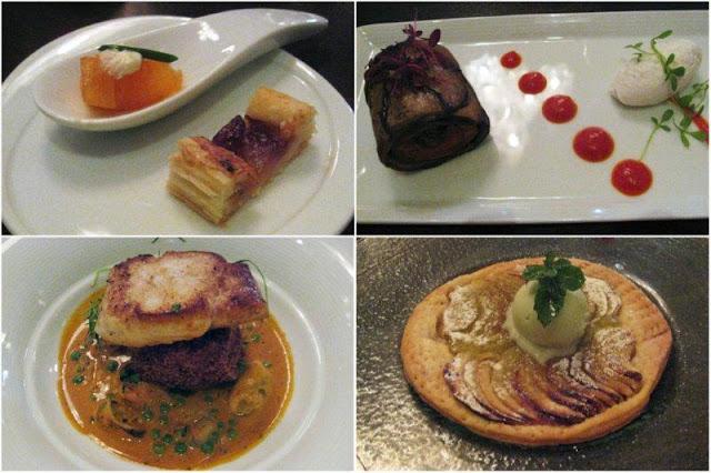 """""""Cucharita de salmón y milhoja"""", """"Roulade de berenjena y pimiento morrón con fondue de queso de cabra"""", """"Merluza en bisque de crustáceos y croqueta de cangrejo y patata"""", """"Fina tarta de manzana con su sorbete"""" en el Restaurante Fusion Bar Bistro en Aberdeen, Escocia."""