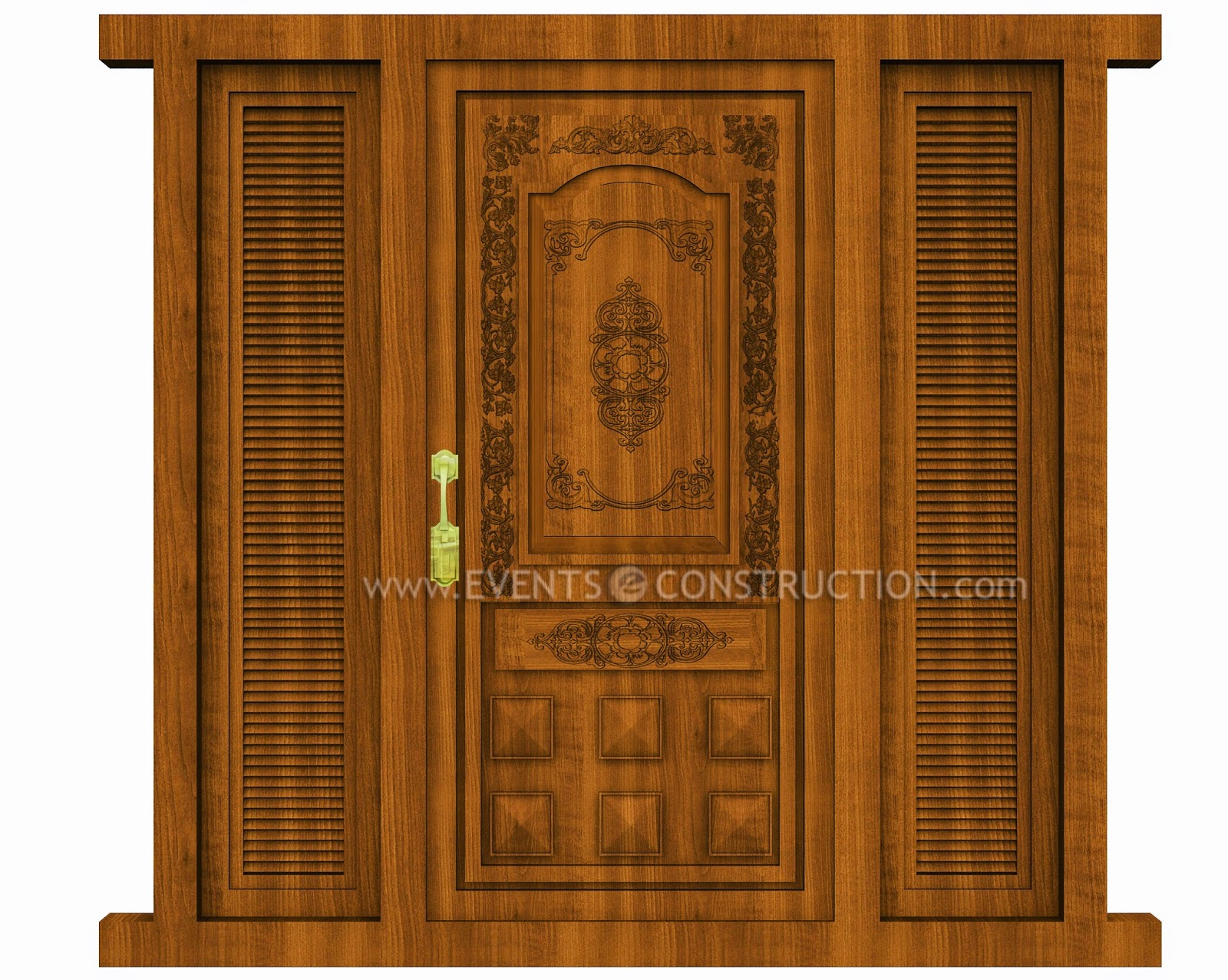 Evens construction pvt ltd wooden main door design for New main door design