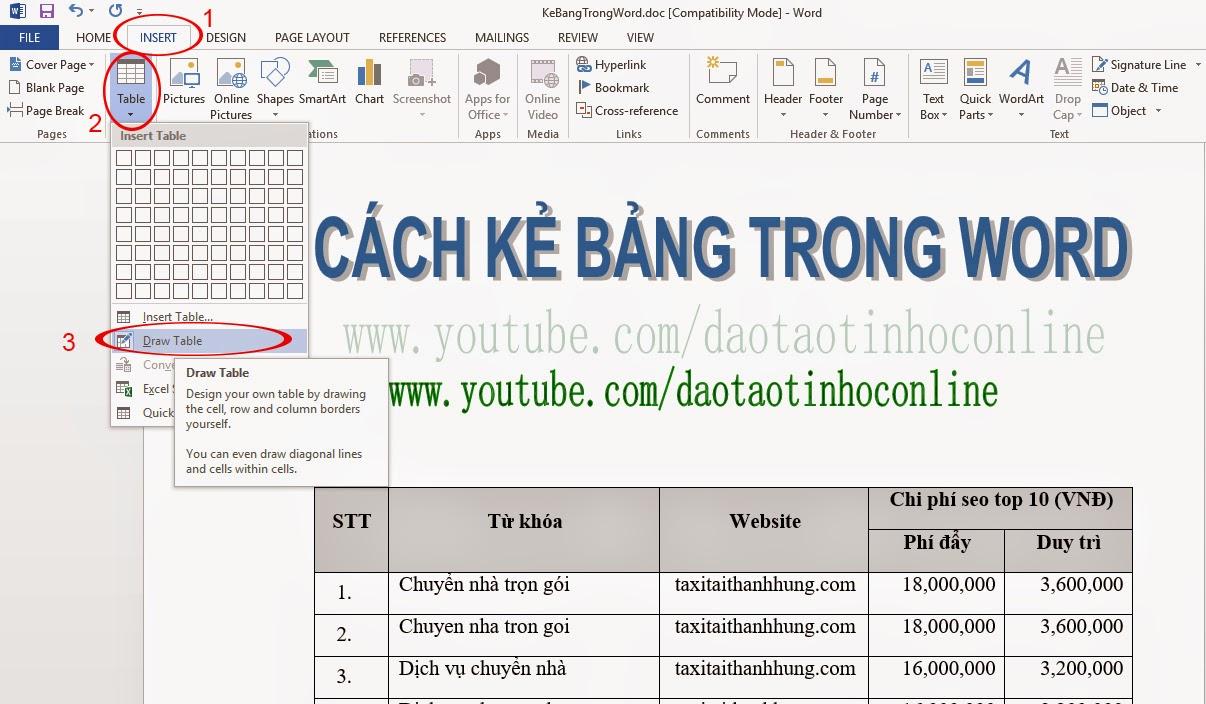 Hướng dẫn cách vẽ bảng biểu trong Word 2013