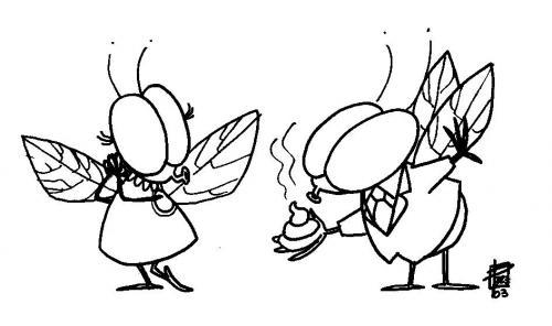Fly Cartoon Drawing Two-fly Rule in Beijing