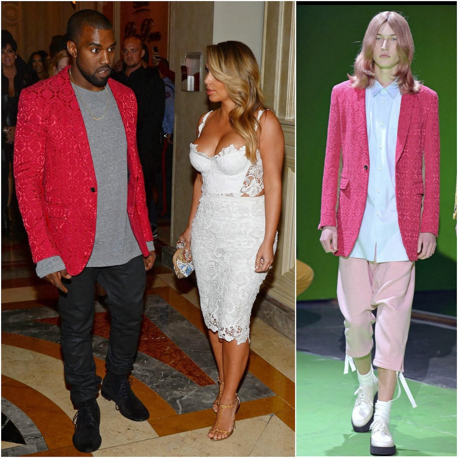 00O00 Menswear Blog: Kanye West in Comme des Garçons brocade blazer - Tao Nightclub, Las Vegas