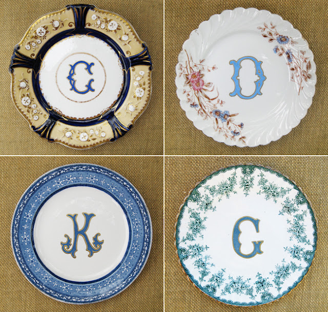 Adore these monogrammed dinner plates from Kelly Wilson antiques! : monogrammed dinner plates - pezcame.com