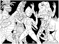 Gambar Sketsa Ultraman Dan Para Monster