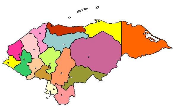 mapa de honduras a color