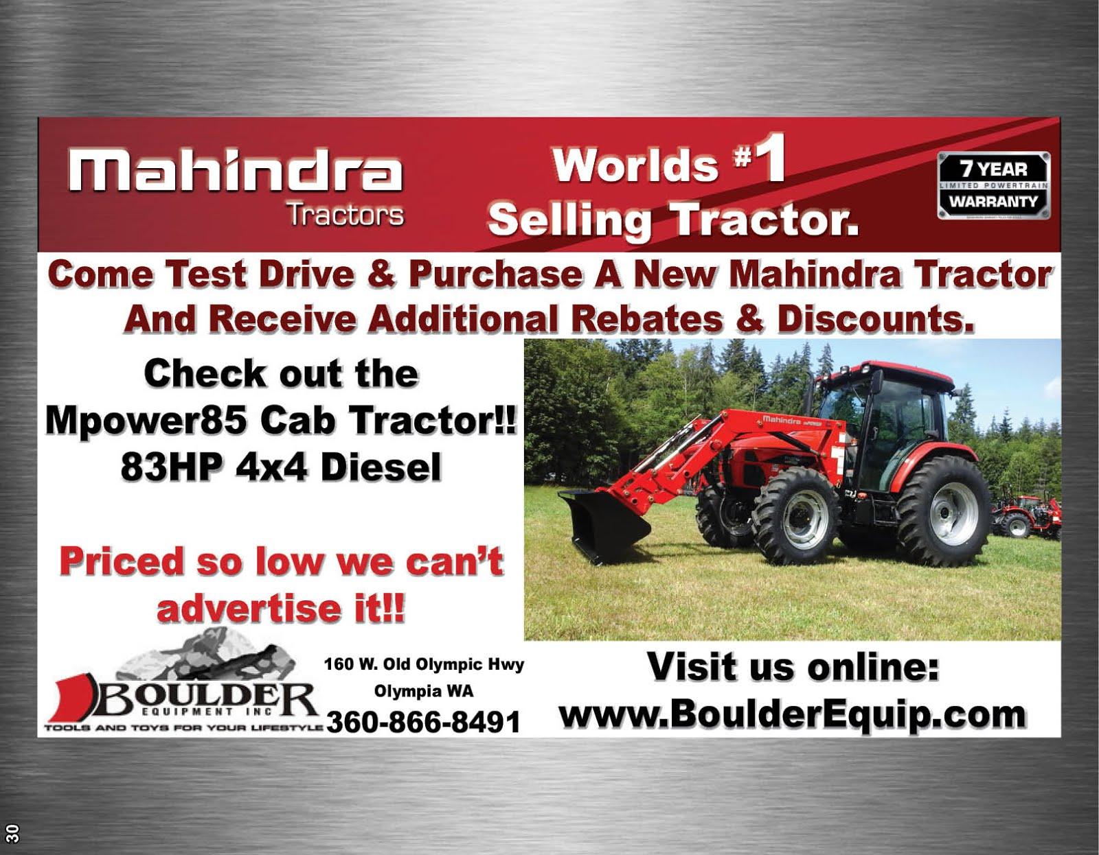 Boulder Equipment Mahindra Tractor Special!!