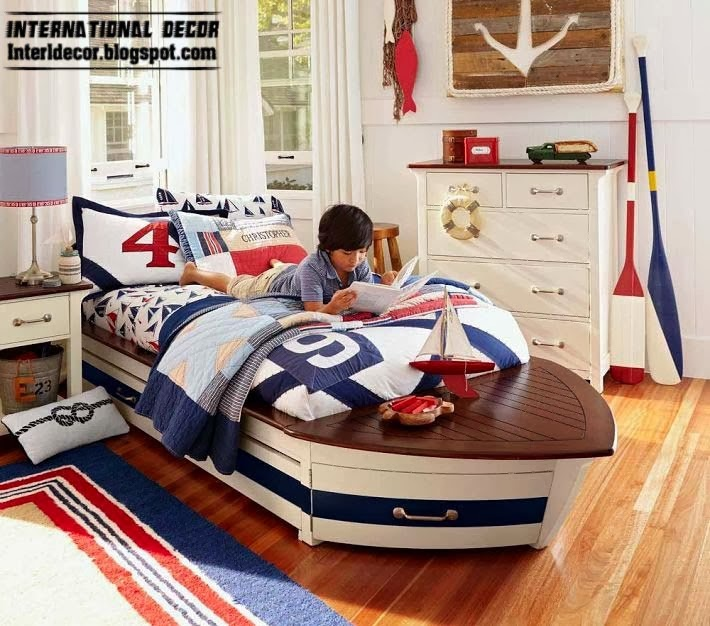 boat bed for kids, children room design in marine style