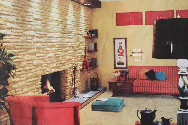 people from 1959 can do it and so can you i want to live in this den even though the shutters matching the couches freaks - 1959 Home Design