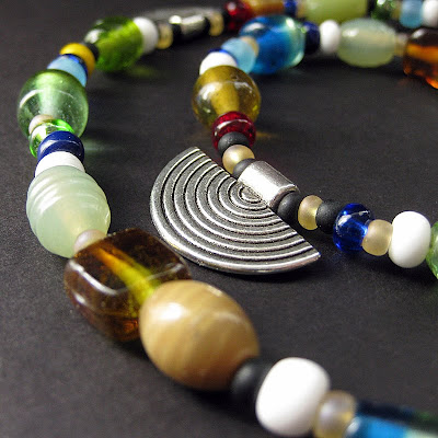Rainbow Medley Viking Cascade Necklace with Metal Charms