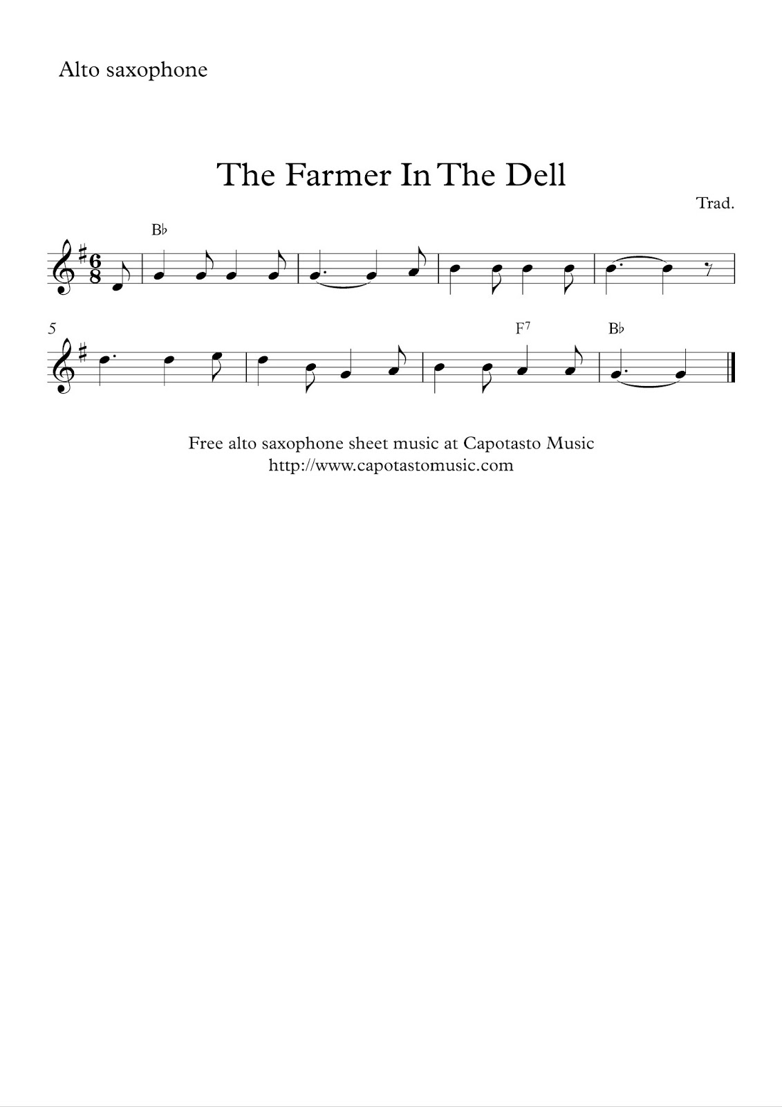 Free easy alto saxophone sheet music, The Farmer In The Dell
