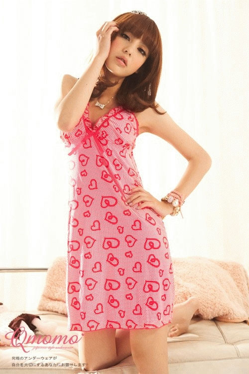 Jual Baju Tidur Terusan Pink Motif Hati LHS6014665