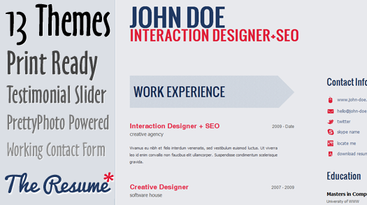 free html5 css3  html5 template   the resume
