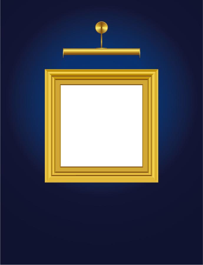 照明で照らす額縁 ornate pattern picture frame イラスト素材