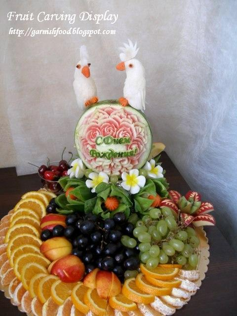 birthday fruit carving display