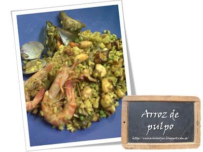 Arroz pulpo paella marisco plato receta