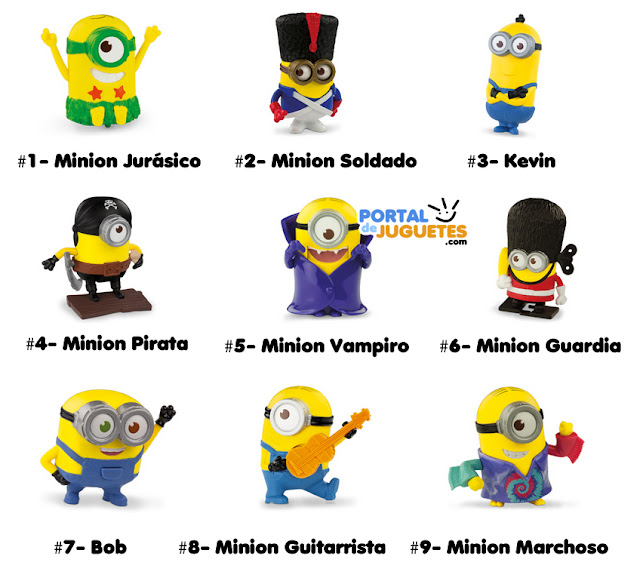 juguetes minions happy meal mc donalds nombres