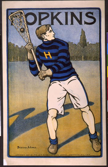 sports, vintage, vintage posters, retro prints, classic posters, graphic design, free download, Hopkins, Bristow Adams - Vintage College Lacrosse Sports Poster