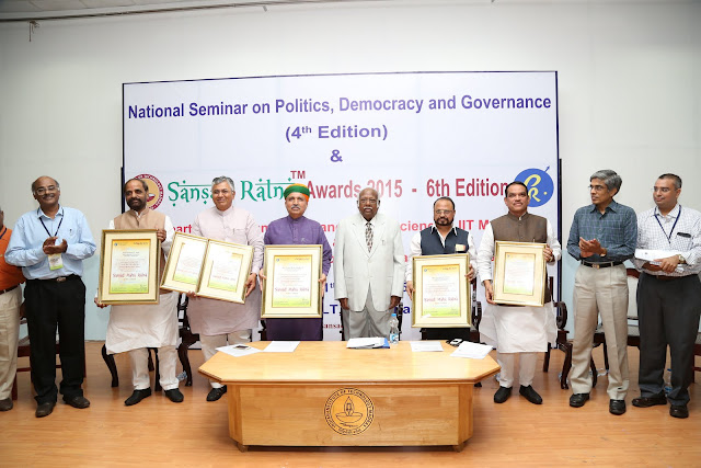 L to R: K Srinivasan, P P Chaudhary, Arjun Ram Meghwal, Dr Justice AR Lakshmanan, Anandrao Adsul, Shrirang Appa Barne, Dr Bhaskar Ramamurthy and Dr Sudarshan Padmanabhan
