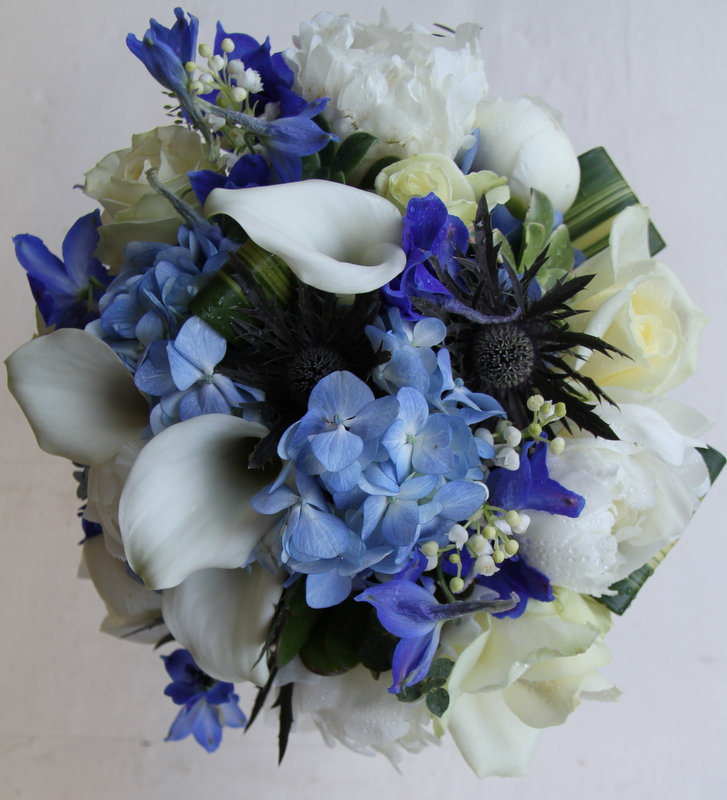 The Flower Magician: Blue & Ivory Wedding Bouquet