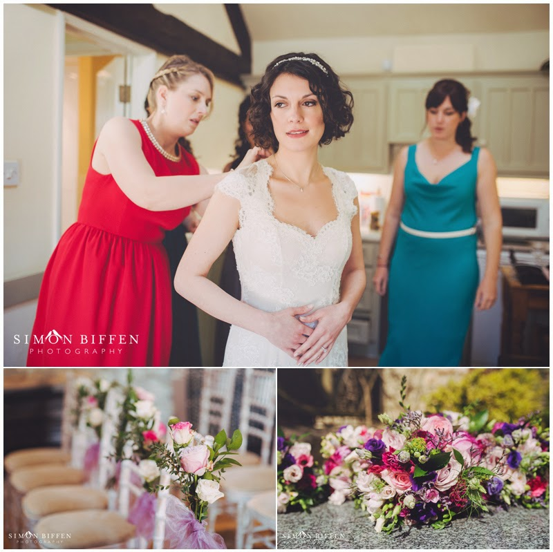 Final bridal prep and flowers