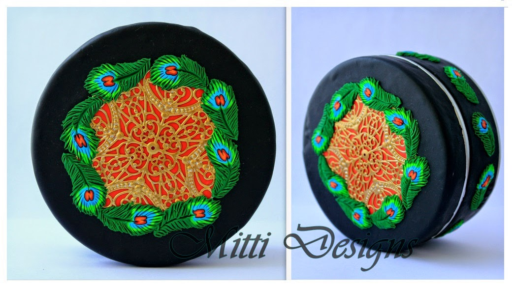 polymer clay covered box, Peacock Feathers earrings,Zumka,  indian peacock, hand made, polymer clay,brooch, jewelry box,  mitti designs, rachana saurabh,