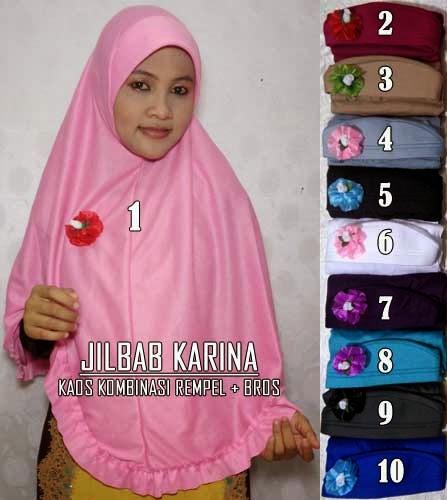 Jilbab murah bahan kaos dengan rempel dan bros