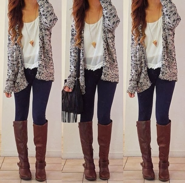 Oversize cardigan, white shirt, denim skinnies and long boots