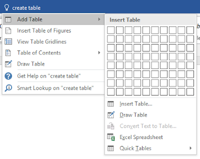 MS Word 2016 Tell Me What You Want To Do - Add Table