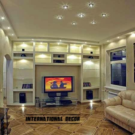 living room lighting with gypsum shelves