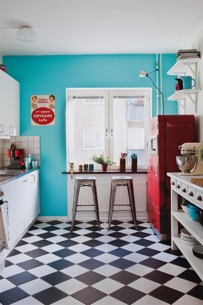Blog de decora o arquitrecos cozinhas turquesa vermelho - Decoracion retro americana ...