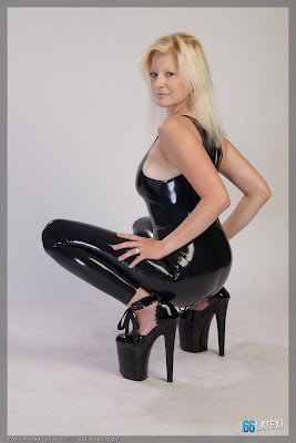 Black Latex Catsuit Blonde on Impossible Heels