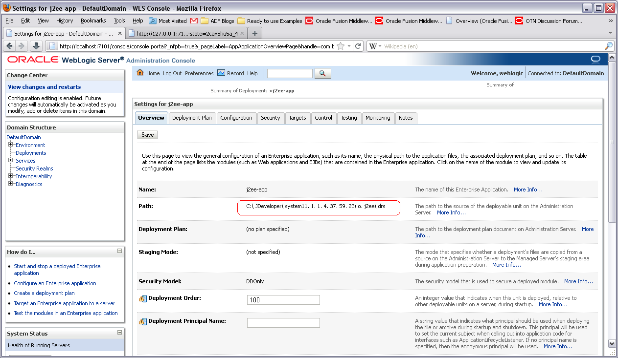 adf weblogic how to where deployed application is stored in