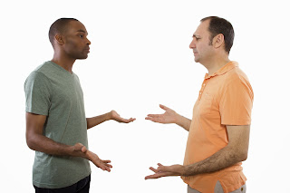 A gay couple involved in an argument.