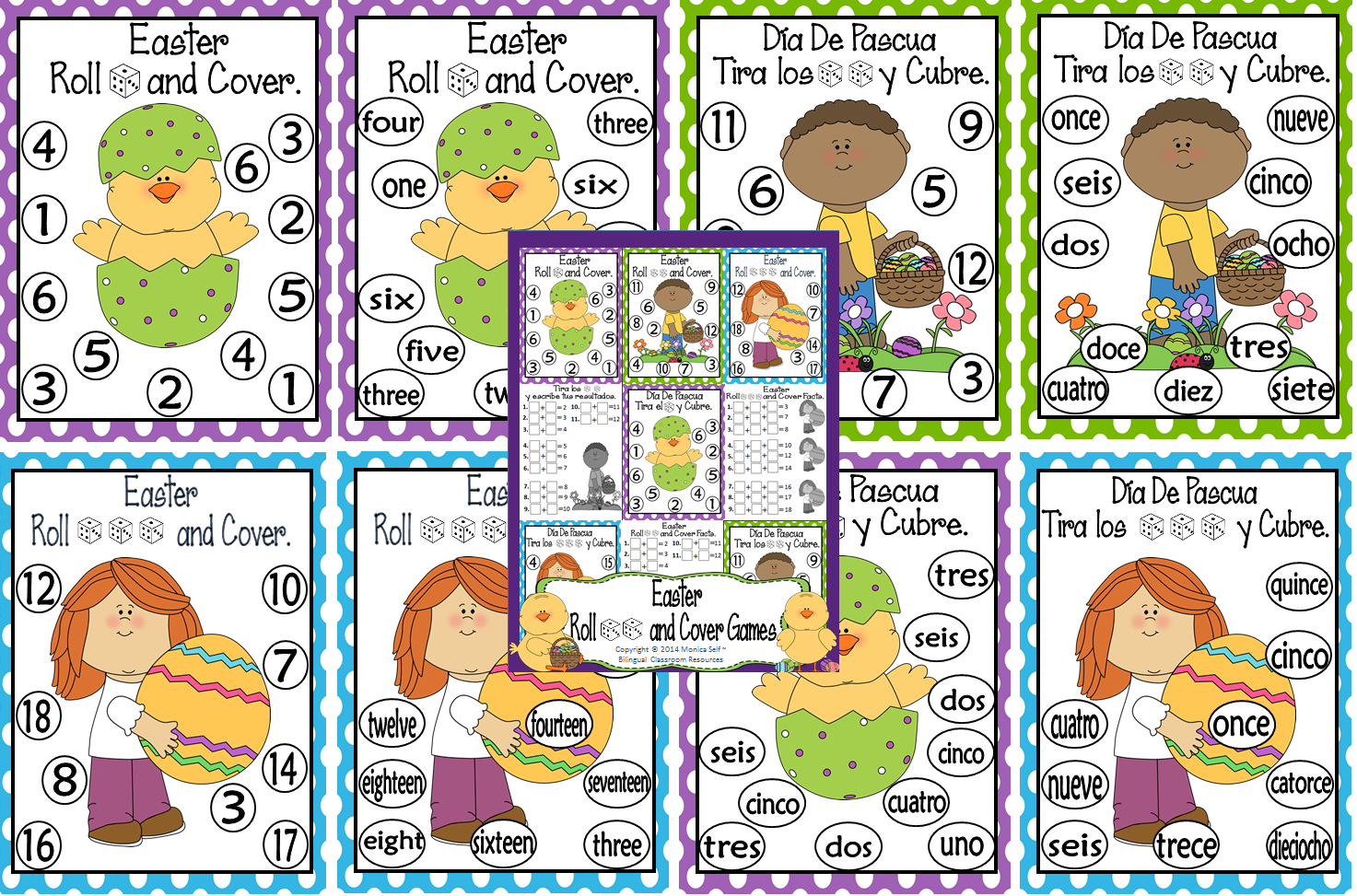 http://www.teacherspayteachers.com/Product/Easter-Roll-and-Cover-Games-1180090